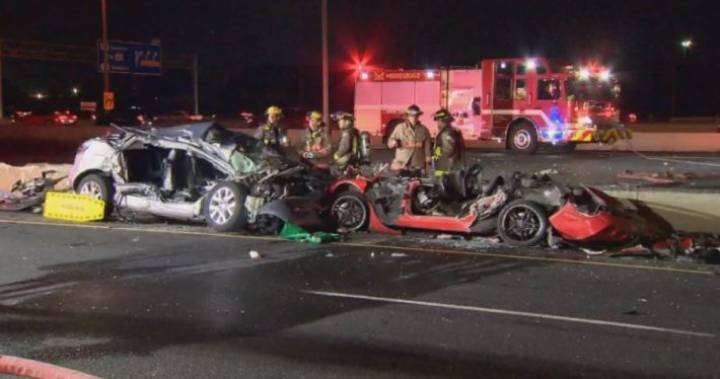 2 dead, 3 injured in fiery multi-vehicle crash on Hwy 401 in