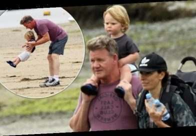 Gordon Ramsay enjoys a day on the beach with family in Cornwall
